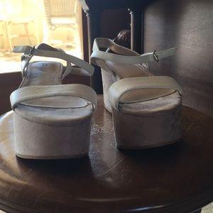 Beige white platform heels